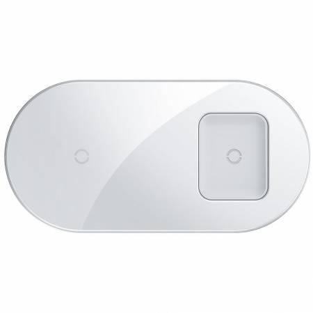 Simple 2in1 Беспроводное ЗУ Baseus - white