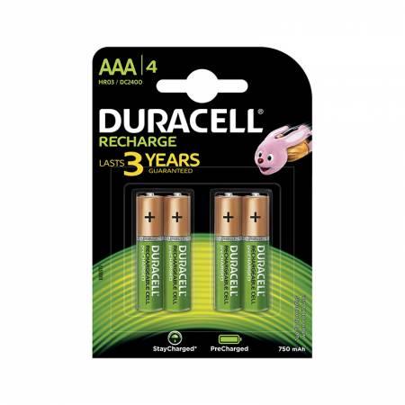 Duracell Recharge DC2400, AAA, 750 mAh, Ni-MH, блистер 4 шт